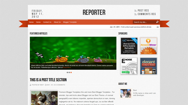 Reporter Blogger Template